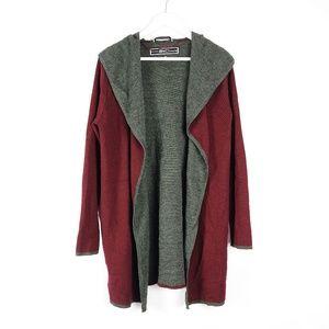 BNCI Blanc Noir maroon hooded cardigan sweater, L